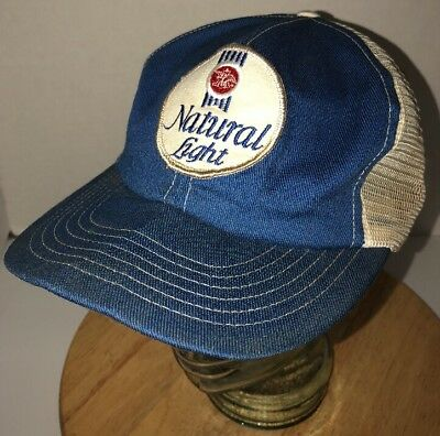 Vintage NATURAL LIGHT 80s Blue White Trucker Hat Cap Snapback USA Swingster  Beer e5954293afe5