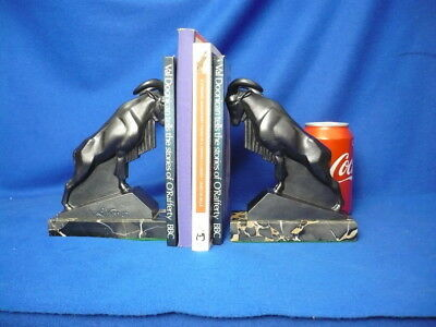 Max Le Verrier Art Deco Rams Sculptures Book Ends Vintage Antique Rare
