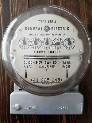 Vintage GE I-55-A Single Stator Watthour Meter Steampunk Decor