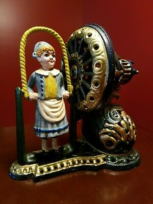 """Cast Iron """"Girl Skipping Rope"""" Mechanical Bank-Vintage Toy"""