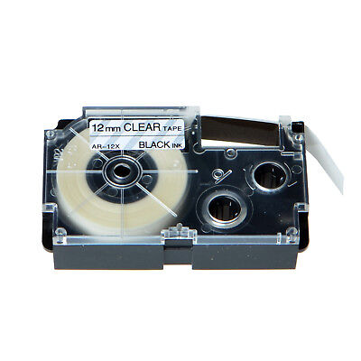 """20PK XR-12X Black on Clear Label Tape for Casio KL-60 100 7000 8200 8800 1/2"""""""