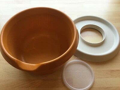 Vintage Tupperware 3.0l Bowl - Orange [1368-2] with outer and inner lids
