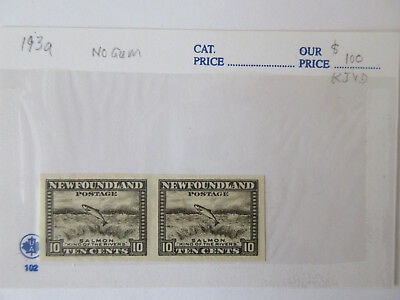 Newfoundland 1932 Salmon 10c  #193a VF MNH, #193 Block of 9, #193 inverted wmk