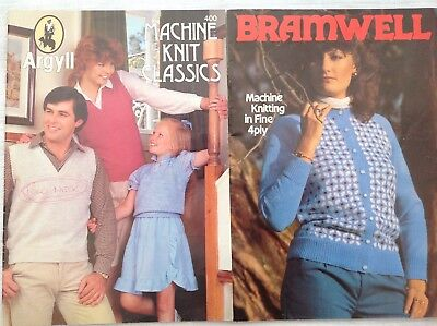 2 Knitting Machine Pattern Books by Bramwell & Argyll Lots of basic patterns