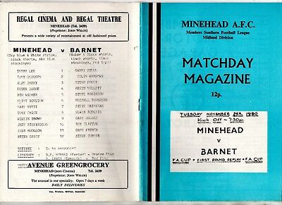 FA Cup 1st round proper replay:-MINEHEAD v BARNET 1980/1