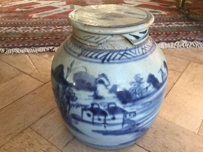 "Antique/ Vintage chinese ginger jar BLUE AND WHITE 6.5"" HIGH Including Lid"