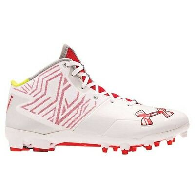 NEW Mens Under Armour Banshee Mid Lacrosse / Football Cleats White / Red Sz 16M