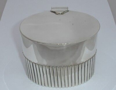 Early 1900 Silver Plated Tea Caddy half flutted decoration - very nice item - NR
