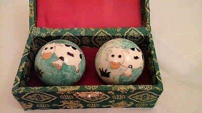 Vintage Boxed Pair Of Enamelled Chinese Happy Cow Chiming Excercise/Stress Balls