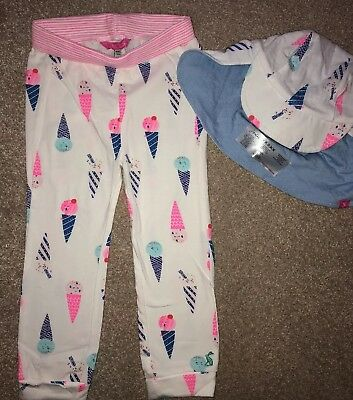 Joules Age 18-24mth reversible Sunhat and Trousers Set girl ice creams