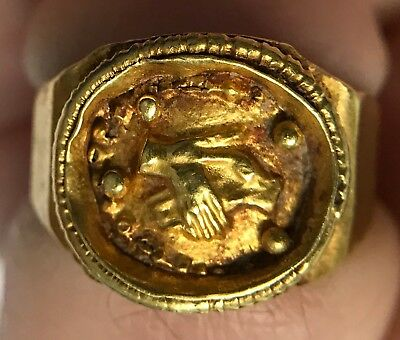 Authentic ANCIENT Roman MARRIAGE Hands Clasped GOLD Ring Jewelry Artifact i66770