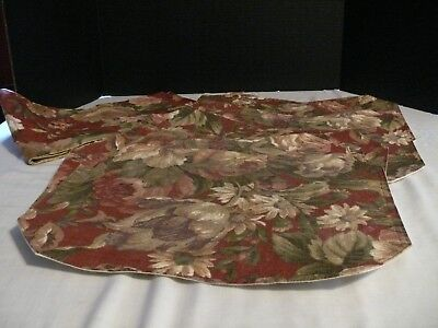 Burgundy Floral Placemats (Six) and Table Runner--Used--Placemats are Approx. 17