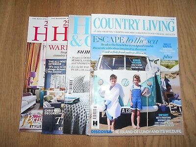 Home Interior Magazines, 4 Issues Includes Country Living & House & Garden Used