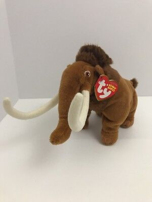 """Ty Beanie Babies Ice Age Manny Plush 8"""" Stuffed Wooly Mammoth 2009 Tags"""