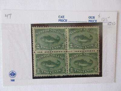 NEWFOUNDLAND Cod 2 cent green, Scott #46 & 47, blocks of 4