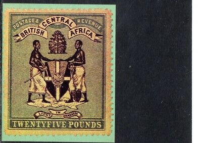 Early British Central Africa  Rare Stamp Ice Cream Card, 1895  25 Pounds Unused