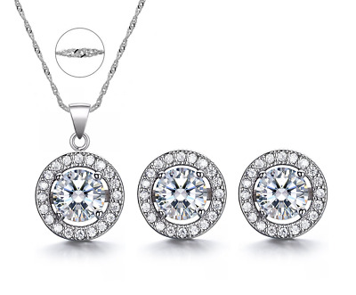 Cubic Zirconia Round Halo Rhodium Over 925 Sterling Silver Earrings Necklace Set