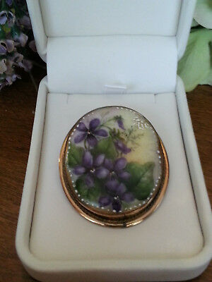 Antique* Hand painted Victorian Violets Brooch/Pendant * w G.F Setting