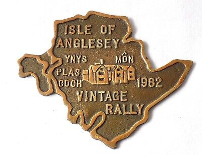 Isle Of Anglesey Vintage Rally Brass Plaque. Traction Engine, Car, Tractor