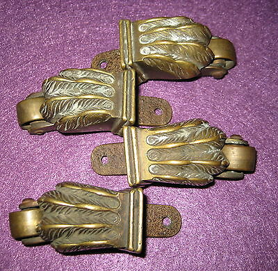 Old Antique Vintage Victorian 4Pc Cast Brass Claw Foot Swivel Caster Made In Usa