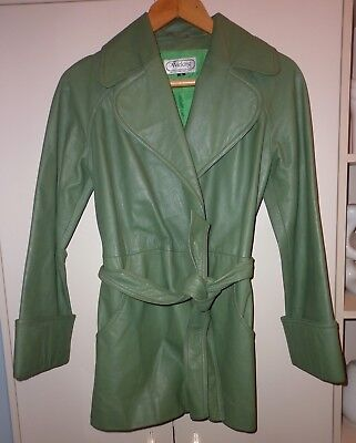 VINTAGE 70s  LEATHER  TRENCH COAT SIZE 10 EXCELLENT CONDITION