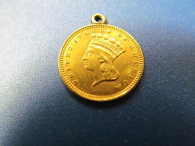 1857 Gold Type Iii One Dollar Liberty  Coin -  Excellent Details - Loop Attached
