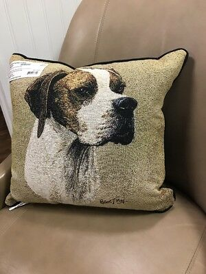 English Pointer dog head Jacquard Woven Cotton Tapestry Accent Throw Pillow NEW