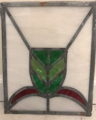 """Free Shipping! ***** Antique Leaded Stained Glass Panel  12 """" Art Deco"""