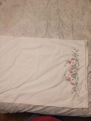 Gorgeous Vintage Hand Embroidered Pillowcase
