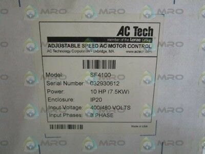 Ac Tech Sf4100 Adjustable Speed Ac Motor Control 10Hp *factory Sealed*