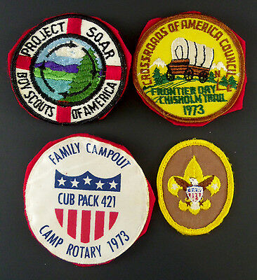Vintage Boy Scout Patches Badges Lot of 4 Indiana 70s Project SOAR Rotary BSA