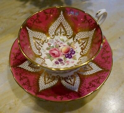 Paragon Fruit with Pink Roses Pedestal Tea cup and saucer  English Gilded Gold