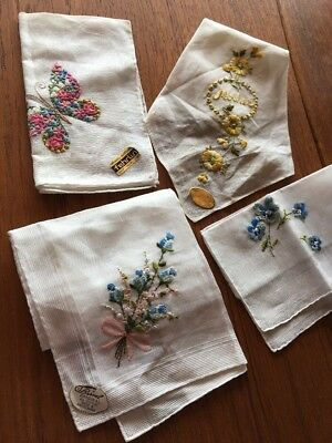 4 Vintage Swiss Cotton Embroidered Roses Hankies Handkerchiefs Hanky New w/ tags