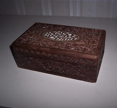 Vintage Hand Made Carved Inlaid Wood Jewelry, Knick Knack Box India Rosewood