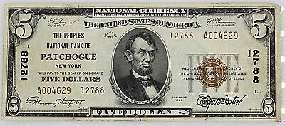 $5.00 Peoples Natl Bank Of Patchogue, Ny National Series 1929 Extra Fine 40