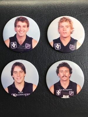 Carlton Football Vfl 4 Player Lot Badge Pin Button Avco Blues Johnston Meldrum
