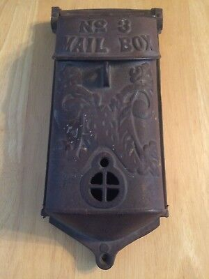 USED VINTAGE ORIGINAL UNPAINTED ANTIQUE CAST IRON MAILBOX GRISWOLD No.3 PEEPHOLE