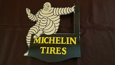 Vintage Michelin Man Porcelain Gas Auto Tires Service Station Double Sided Sign