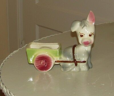 Vintage Donkey With Cart Pottery Planter Very Cute!