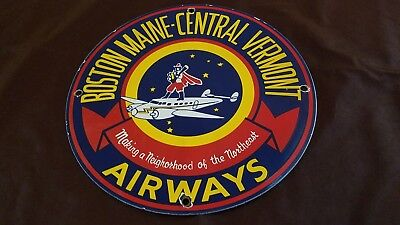 Vintage Boston Airways Porcelain Gas Aviation Service Station Pump Plate Sign