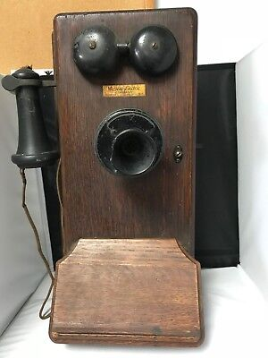 Antique Western Electric Hand Crank Oak Wall Telephone