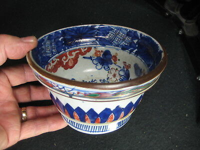 ANTIQUE JAPANESE EDO  ERA c1840  AKAI IMARI MULTI-COLOR HAND PAINTED SIGNED BOWL