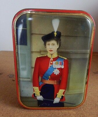 Vintage Edward Sharp & Sons Toffee tin ,With A young Queen Elizabeth II