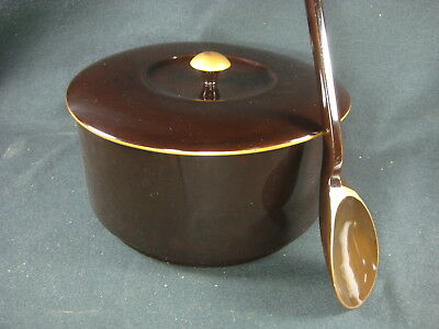 Antique Japanese Large Lidded Lacquer Wooden Ohitsu Sushi Rice Container W/spoon