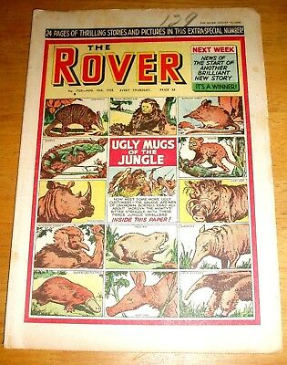 Rover Comic 16/8/1958 With  Jungle Animals  Cover  Rhino  Tarsier  Saki Aardvark