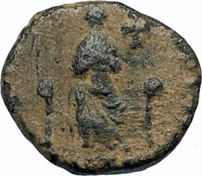 EUDOXIA Arcadius Wife 400AD Authentic Ancient Roman Coin GOD's HAND CROSS i67317