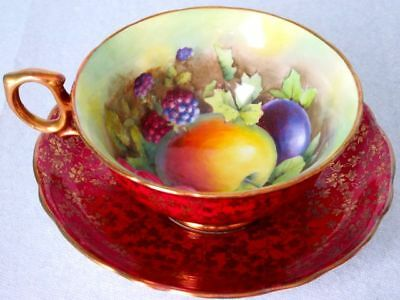 Hammersley & Co Antique Burgundy Red Gold Chintz Orchard Fruit Artist Signed Cup