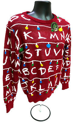 Mens Stranger Things Ugly Holiday Light Up Sweater Red X Large New