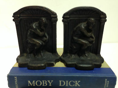 Attractive Pair of Vintage Cast Iron Metal THE THINKER Bookends