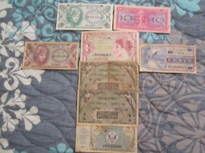 Lot of 8 Military Payment Certificates All Paper Money